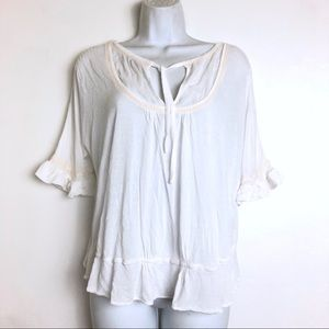 free people white ruffle button back Blouse Size L